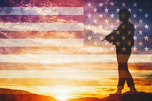 士兵剪影旗